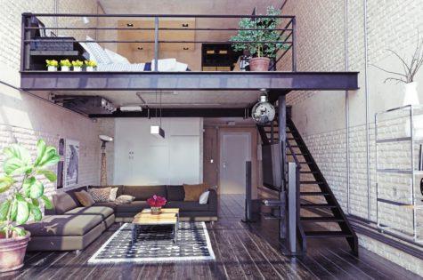 Geländer und Treppe aus Stahl im Industriedesign